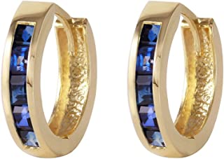 Galaxy Gold 14k Solid Yellow Gold Hoop Huggie Earrings with Princess-cut Natural Sapphires
