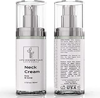Life Essentials Neck Firming and Tightening Cream for Sagging Skin & Wrinkles - 2 oz Double-Sized Bottle - Anti Aging Lift...