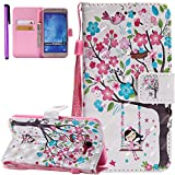 ISADENSER Samsung Galaxy J7 2015 Case Galaxy J7 Case 360 Body Protection [Wallet Stand] With Flip Magnetic Closure Shockproof Card Holder PU Leather Wallet Case Cover for Galaxy J7 3D Girl and Tree KT
