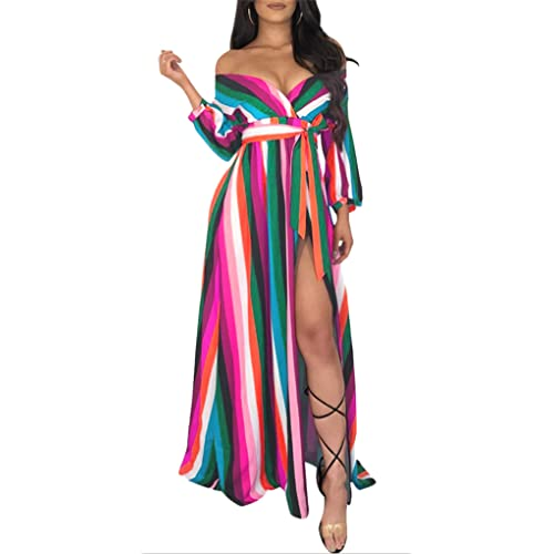7aab927caa0 Women s Striped Off Shoulder Casual Long Sleeve Split Maxi Party Dresses  with Belt
