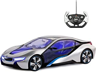 BMW Toy Car, Rastar 1:14 BMW i8 Remote Control Car | BMW RC Car, Fully Transparent/Interior Light – Silver, 27MHz / 40MHz