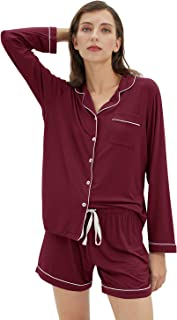 Pajamas for Women Long Sleeve Top and Shorts Button Front PJ Set Sleepwear