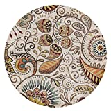 EmyTock Alfombra redonda de algodón, tejida a mano, diseño de mandala europeo, antideslizante, 100 cm de diámetro