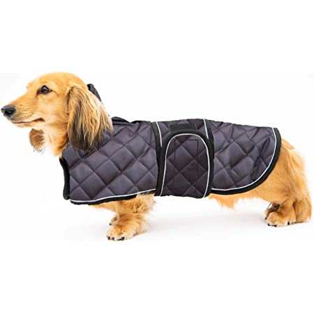dog snowsuit with adjustable bands Morezi Dog coats costume perfect for dachshunds dog winter coat with padded fleece lining and high collar Navy L