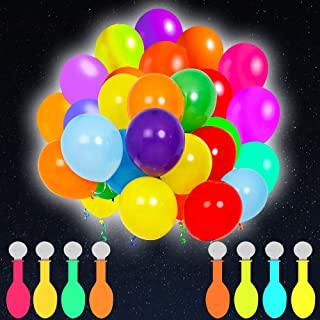 POKONBOY 50 Pack LED Light Up Balloons, Glow in the Dark Party Supplies LED Balloons Neon Party Supplies for Birthday Wedd...