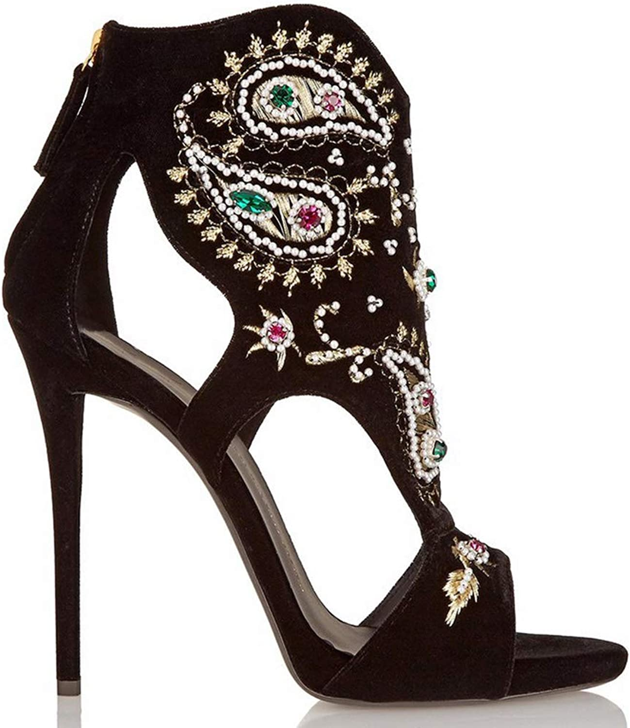 Sandals, Women's high Heel Sandals - Suede Embroidered Fish Mouth Open Toe shoes - Rhinestone Embroidery Retro Sandals Heel Height (6-8CM)