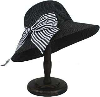 Fashion Sun Hat for Sun Hat for Women with Bowknot Straw Boater Banama Hat Suitable for hot Weather Season (Color : Black, Size : 56-58CM)