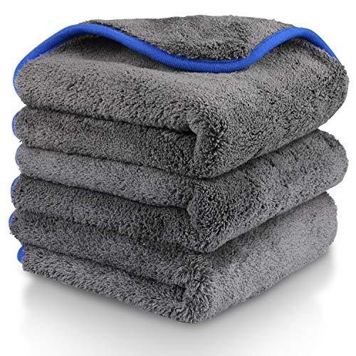 Gifort Auto Reinigungstuch Tücher 3 Stücke Mikrofasertücher poliertuch mit zum Waschen/Putzen/Polieren und Trocknen von Fahrzeugen (38 x 43cm) (Gray)