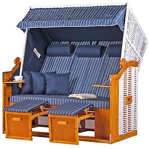 Mr. Deko Strandkorb Ostsee XXL Volllieger Liegestuhl Dreisitzer PE Geflecht Weiß Dessin Royal Blau fertig aufgebaut inkl. 6 Kissen-Strandkörbe aus Hartholz, Garten, Wintergarten und Terrasse