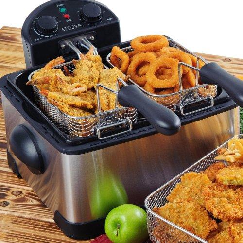 Secura 4.2L/17-Cup 1700-Watt Stainless-Steel Triple-Basket Electric Deep Fryer Digital Control
