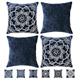 HPUK Bohemian Throw Pillow Covers 18x18 inch, Accent Cushion Covers, Hippie Set of 4 Couch Pillows for Living Room, Sofa Navy Emboridery 2