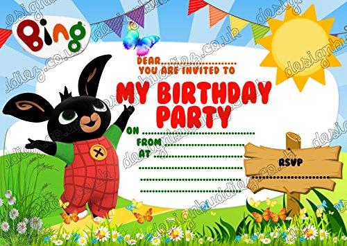 10 x Bing Bunny Verjaardagsfeestuitnodigingen Pack dikke kaarten + 10 GRATIS Enveloppen
