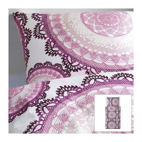 """IKEA Bettwäsche-Set """"Lyckoax"""" Bettgarnitur 140x200 cm und 80x80 cm - weiß lila rosa - 100% Kammgarnbaumwolle - Fadendichte 207"""