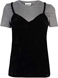 Noisy May Jamie Camisole Overlay T-Shirt Womens Grey/Black Top Tee Casual Wear