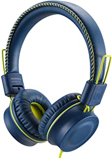 POWMEE M2 Kids Headphones Wired Headphone for Kids,Foldable Adjustable Stereo Tangle-Free,3.5MM Jack Wire Cord On-Ear Headphone for Children/Teens/Girls/School/Kindle/Airplane/Plane/ (Blue)