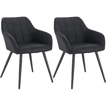 WOLTU Lot de 2 Chaises de Salle à Manger avec accoudoirs, Chaise de Salon Structure en métal et Assise en Tissu Scientifique,Anthracite BH224an 2