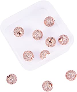 NBEADS 1 Box 10pcs 10mm Rose Gold Color Clear Crystal Cubic Zirconia Pave Micro Setting Disco Ball Spacer Beads, Brass Round Bracelet Connector Charms Beads for Jewelry Making