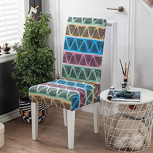Fundas para sillas Triángulo Morado Spandex Fundas sillas Comedor Lavable Extraíble Funda Muy fácil de Limpiar Duradera Modern Bouquet de la Boda Hotel Decor Restaurante 4/Piezas