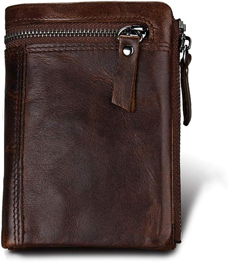 Hibate, portafoglio, porta carte di credito, in vera pelle per uomo, blocco rfid HD-024-COF
