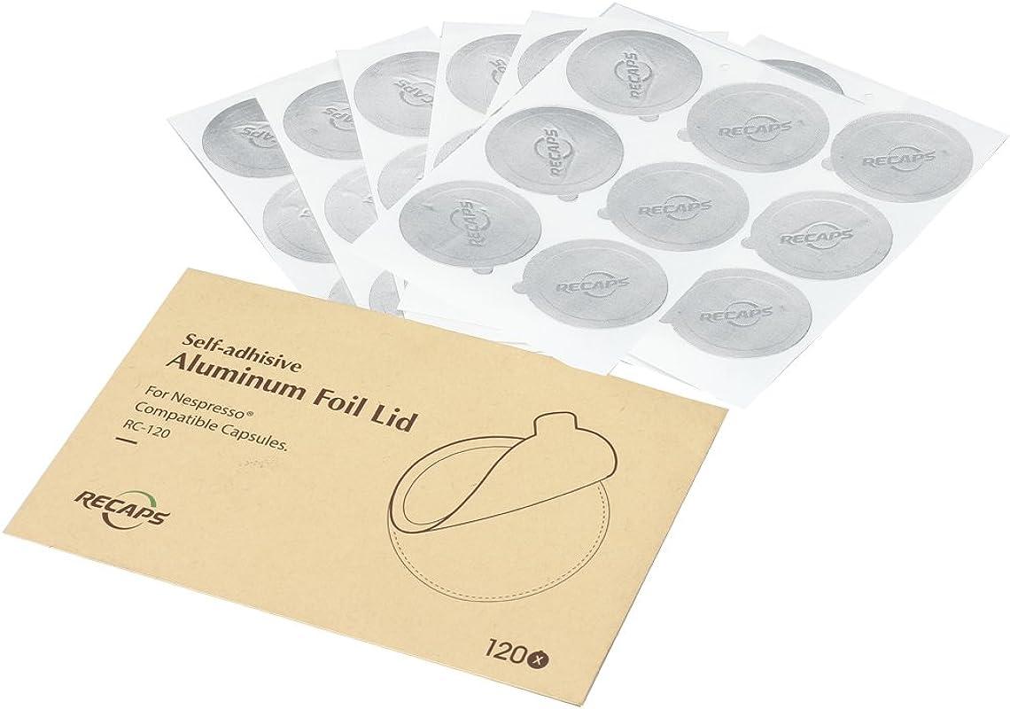 RECAPS Aluminum Espresso Lids Foil Seals Reusable Capsules Compatible With Nespresso Original Line Lids 120 Pcs Only 37mm In Diameter