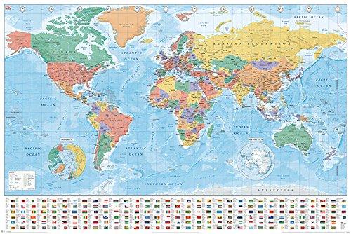 World Maps Mappe del Mondo Bandiere E Fatti Maxi Poster, Multicolore