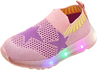 Kids LED Slip on Sneakers Star Breathable Lightweight Knit Light Up Shoes Boys Girls Walking Flashing Sneakers