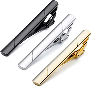 3pcs Set Stainless Steel Exquisite GQ Classic Tie Bar Clip, Silver Tone, 2.3Inches