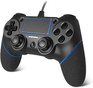 scorel 有线コントローラー PS4/PS4 Proに適用 振動/重力感応/タッチパッド機能搭載-ブラック