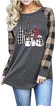 HAPPIShare Merry Christmas Tree Print T-Shirt for Women Leopard Buffalo Plaid T Shirts and Three Snowmens Casual Long Sleeve Tee Tops Blouse