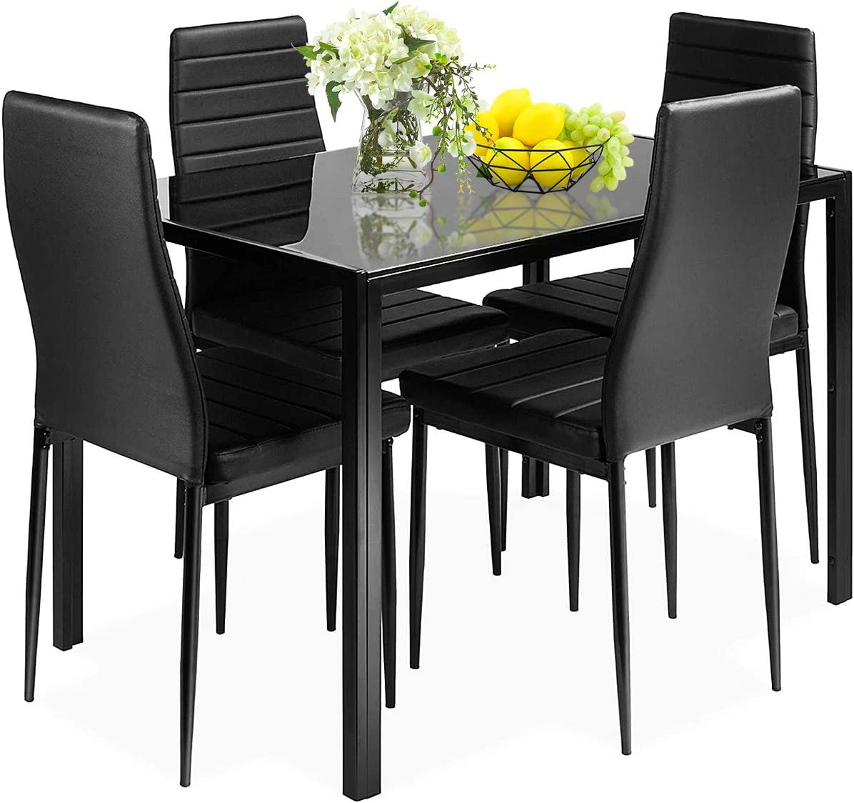 Giantex 9 Piece Kitchen Dining Table Set with Glass Table Top Leather  Padded 9 Chairs and Metal Frame Table for Breakfast Dining Room Kitchen  Dinette, ...
