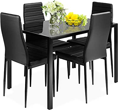 Amazon Com Best Choice Products 5 Piece Kitchen Dining Table Set For Dining Room Kitchen Dinette Compact Space W Glass Table Top 4 Faux Leather Metal Frame Chairs Black Table Chair Sets
