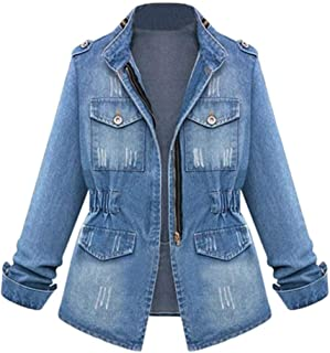 19813a54ca3 iQKA Women Plus Size Casual Denim Jacket Boyfriend Oversized Zipper Washed  Jean Coat