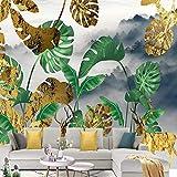 Hhkkck写真の壁紙現代の黄金の鹿の森の植物の葉3D壁画リビングルーム寝具部屋背景壁画Papel De Parede-200X150Cm