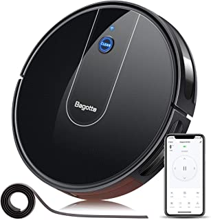 Robot Vacuum - 1600PA Wi-Fi Connected APP Schedule Cleaning Robotic Vacuum Cleaner , Striped Panel, 2.7