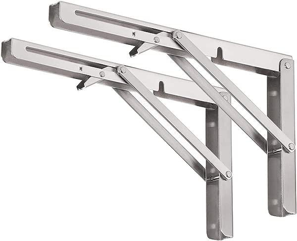 CUZURLUV 14 Folding Shelf Brackets Max Load 440 Lb Heavy Duty Stainless Steel DIY Wall Mounted Shelf Bracket Space Saving For Table Work Bench Pack Of 2