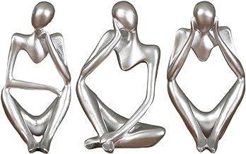 homozy 3 Peças de Resina Pensador Escultura Estátua Estatueta para Decoração de Estante de