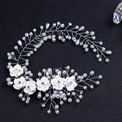 niumanery Bride Hair Comb Flowers Faux Pearl Wedding Girls Bridal Tiara Floral Headdress