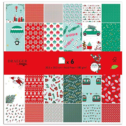 TOGA - Papel de scrapbooking navideño (30,5 x 30,5 cm, 1 set de 6 piezas)