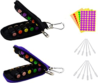2 Pack Stylish Essential Oil Key Chain Case Come with 20 Amber Sample Bottles, Blank Labels, Droppers, Fits Easily in Purse or Makeup Bag, DIY Your Own Blend
