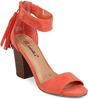 Women Suede Peep Toe Block Heel Tassel Single Sole Sandal ED30 - Papaya