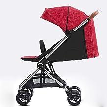 Abwy Plegable fácil con sillas de paseo de un clic La luz 4 Seasons son cochecitos de bebé universales Estructura de aluminio del cuerpo triangular Carro de bebé seguro con 4 amortiguadores de resorte