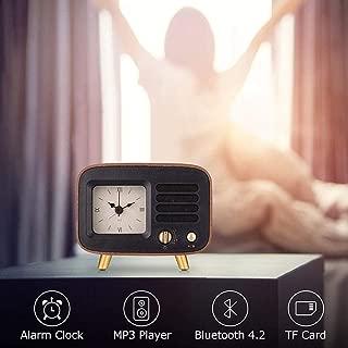 HAOw2019 Retro Alarm Clocks & Bluetooth Speaker, Roman Numbers Silent Wooden Analog Desktop Clock W/Rechargeable Stereo HD Sound Wireles