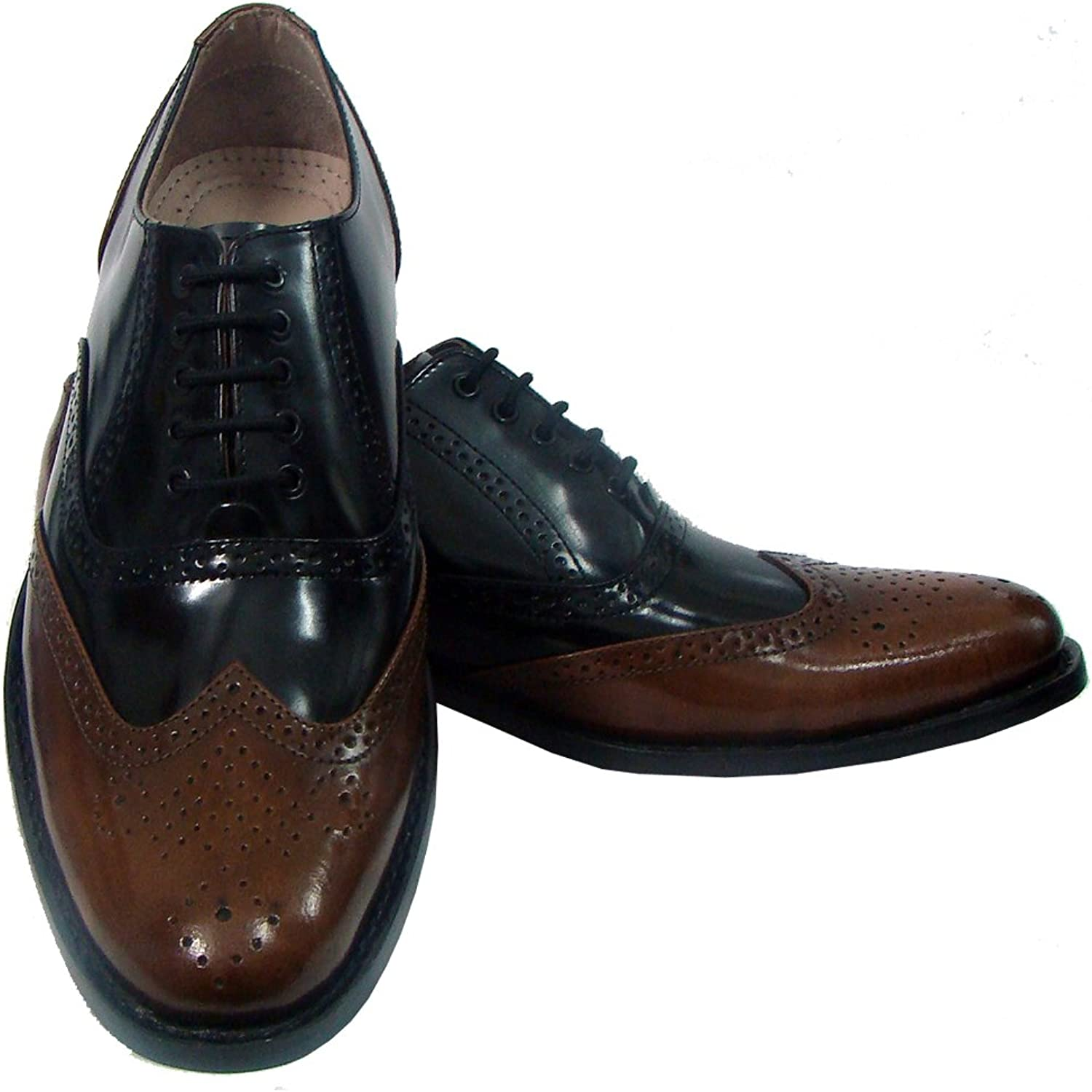 Handmade Goodyear Welted Brown & Black Brogue shoes with silverina Leather Sole, Leather Insole, Fully Leather Lining and Memory Foam Cushioning for Men by ASM. Sizes 4 to 15 UK Article   H114
