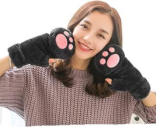 Women Cat Paw Claw Gloves Girls Plush Faux Fur Bear Hand Gloves Winter Fleece Warm Half Fingerless Hang Neck Gloves