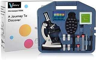 VANSTARRY 120X-1200X Kids Beginner Microscope STEM Kit with Metal Body Microscope, Plastic Slides, LED Light Mobile Phone Holder and Carrying Box