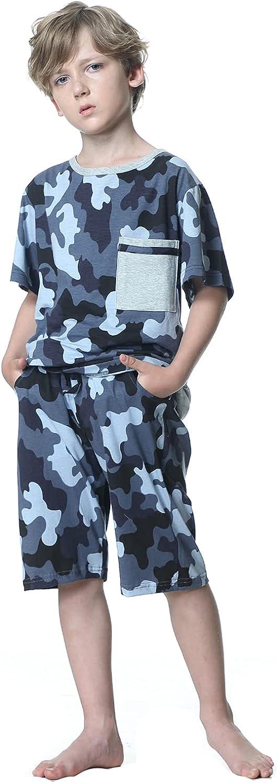 BYX SweetLeisure Big Boys Pajamas,Loose Camo Tie Dye Tee Shorts Cotton Loungewear Size 10 12 14 16