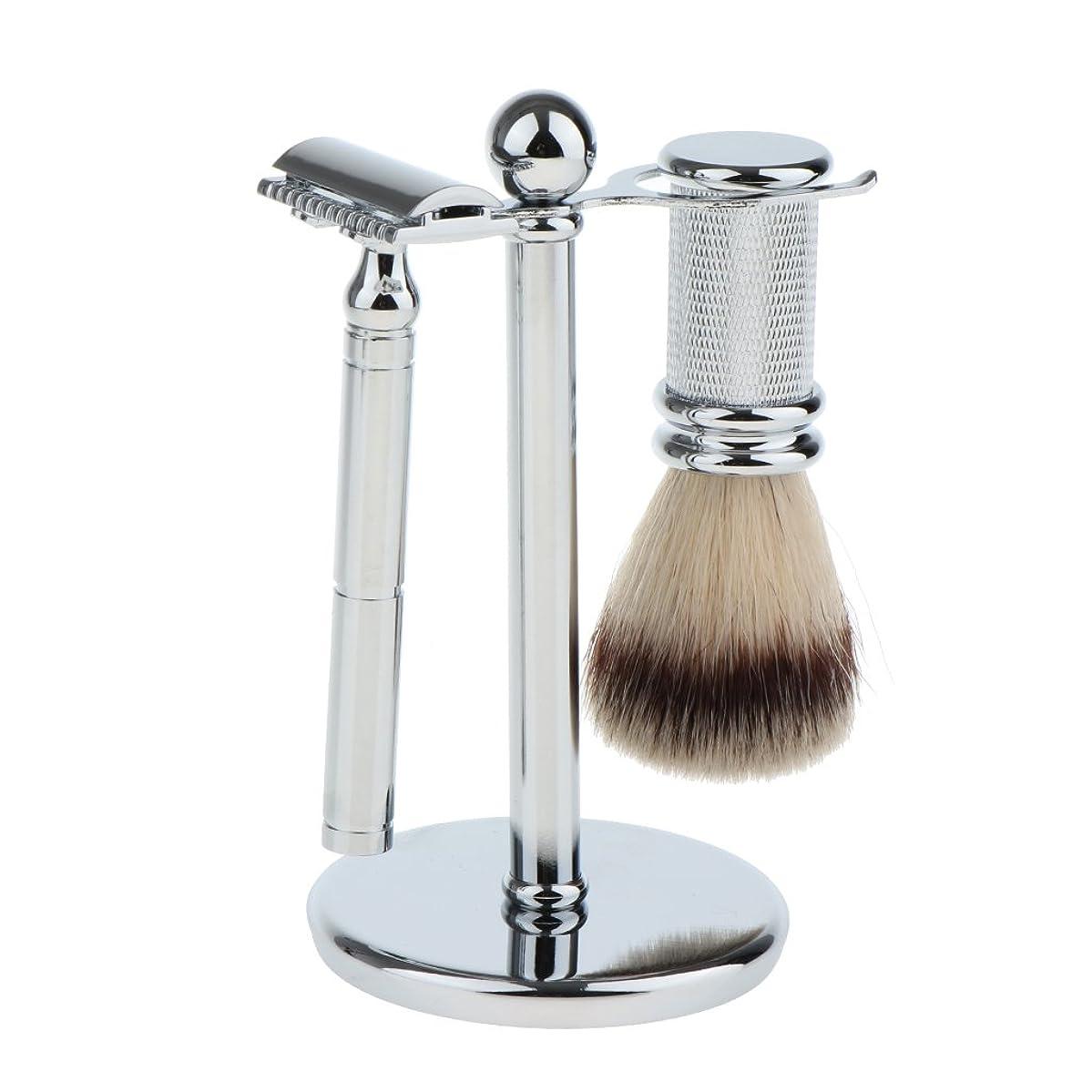ずんぐりしたほめる暴露Fenteer スタンド ブラシ マニュアルシェーバー 3本セット 男性用 シェービング ブラシスタンド ダブルエッジ 剃刀