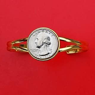 US 1776 - 1976 Bicentennial Washington Quarter BU Uncirculated Coin Gold Plated Cuff Bracelet