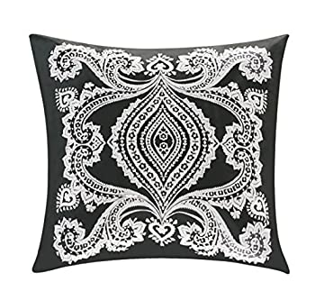 BOURINA 100% Organic Cotton Embroidered Cushion Cover Euro Pillow Cover