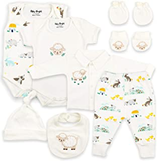 Baby Bright Newborn Clothes Set for Girl 0 to 3 Months 8 pcs Set Made from 180GSM BioSilky 100% Combed Cotton with Embroidery Includes Bib Mittens Booties Pajama Set Cap and 2 Bodysuits